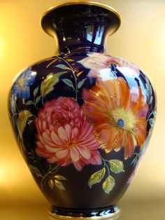Large porcelain hand painted chrysanthemums vase by Rosenthal Kunstabteilung Selb, Germany c. 1945