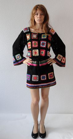 Crochet dress tunic hippie jumper sweater cardigan patchwork retro glamour-flower power vintage look-handmade crochet design- made to order, via Etsy.