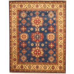 Herat Oriental Indo Hand-knotted Tribal Kazak Blue/ Ivory Wool Rug (8' x 10')