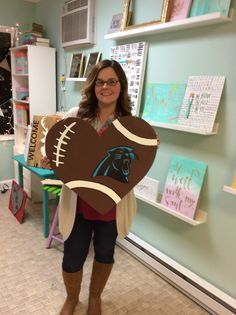 Wooden football door hanger, Carolina Panthers www.facebook.com/aplacetoland13