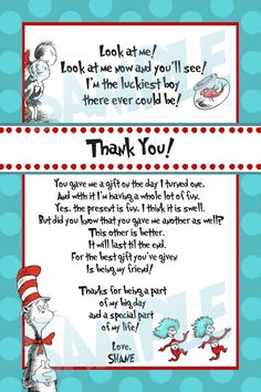 Dr. Seuss Birthday Invitation Wording | Print out on white cardstock or send to your favorite one hour photo ...