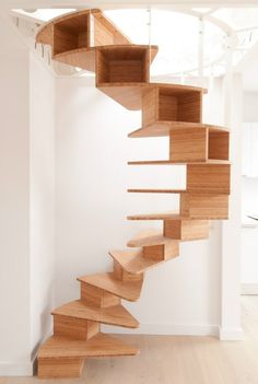 Wooden Spiral #staircase OLMO by Jo-a SA | #design Sébastien Boucquey #wood @Jo-a (Step Stairs Bookshelves)