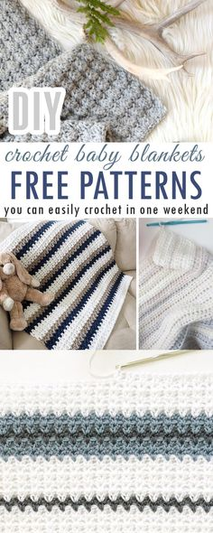 Easy FREE crochet baby blanket patterns you can finish in a weekend - Craft-Mart Crochet Baby Blanket Free Pattern, Crochet Patterns, Blanket Patterns, Easy Diy Baby Blankets, Weekend Crafts, Mason Jar Diy, Diy Crochet, Crochet Crafts, So Little Time