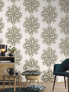Add some classic elegance with this large scale damask design from the Elle Decoration Collection. The beautifully embossed detailing is picked out with tones of gold against a subtle pearlescent background in cream. This high quality wallpaper has a textured finish, which is great for covering minor imperfections, and could be used to create a striking feature wall or to decorate an entire room. This high quality wallpaper benefits from being a paste the wall paper. Embossed Wallpaper, Damask Wallpaper, Wallpaper Roll, Designer Wallpaper, Cream And Gold Wallpaper, Tapete Gold, Decoration Baroque, High Quality Wallpapers, Classic Elegance