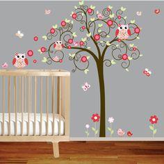 Girls Swirl Tree Wall Decal Nursery Vinyl Wall Stickers red Flowers Owls Curl Tree Butterflies. $99.00, via Etsy.