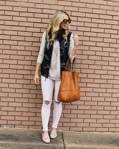 #fall #outfits white ripped pants grey top sleeveless military jacket