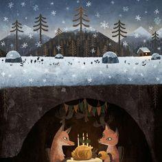 Art And Illustration, Fuchs Illustration, Christmas Illustration, Art Fox, Art Fantaisiste, Drawn Art, Art Design, Whimsical Art, Illustrators