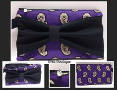 "Bow wristlet by Brea Boutique. Made with Vera Bradley ""Simply Violet"" fabric."
