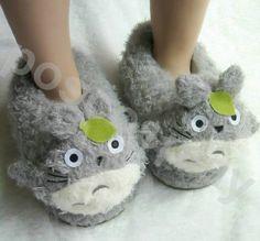 Adult Totoro FLEECE Girls Women Men Slippers Shoes Warm with love. $29.99, via Etsy.