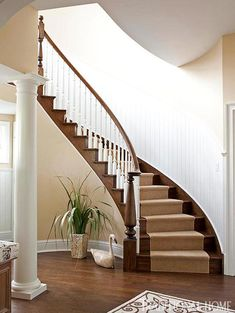 A Curving Staircase Adds A Touch Of Formality   Traditional Home® / Photo:  John Bessler / Design: Mary Ou0027Brien Cabaron. Beautiful And Elegant Curved  ... Part 75