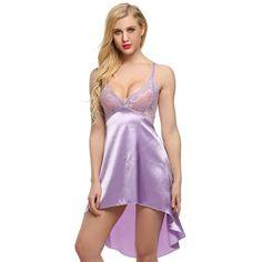 df44d90e83 Ladies Sexy Satin Night Dress Lace Women Sleepwear Sleeveless Nighties  V-neck Nightdress Sexy Nightgown