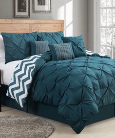 Look at this #zulilyfind! Teal Venice Pinch Pleat Comforter Set by Geneva Home Fashions #zulilyfinds