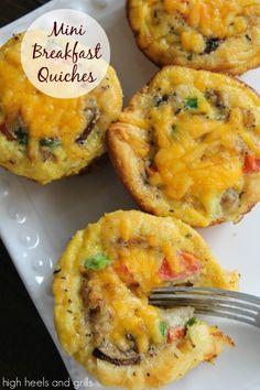 Mini Breakfast Quiches. #easy #recipe http://www.highheelsandgrills.com/2014/01/mini-breakfast-quiches.html