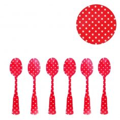 Red and White Polka Dot Translucent Acrylic Demi Taste Spoons Set of 6