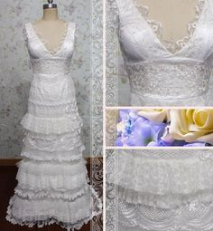 Luxurious v-neck sleeveless embroidered a-line multi-layer lace wedding dress/bridal dress