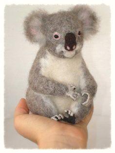 Ooak Needle Felted Koala by Fireflyfelts on Etsy