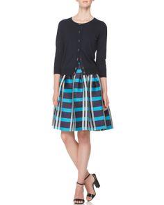 Piazza Sempione Short Cardigan, Short-Sleeve Knit T-Shirt & Macro Check Madras Skirt - Bergdorf Goodman