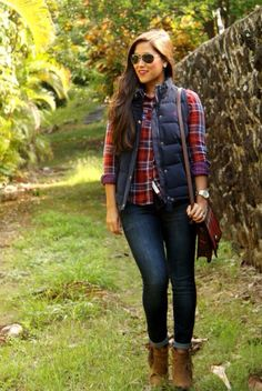 Love the plaid shirt with navy vest.