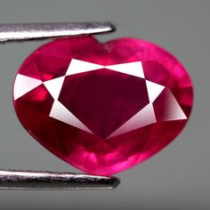 4.05CT.SHINING! HEART FACET BIG PINKISH RED NATURAL RUBY MOZAMBIQUE LOVELY! #GEMNATURAL