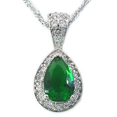 Jewellry 28Mm Green Emerald Silver Tone Pendant Necklace Gift