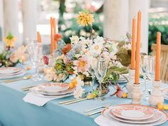 Raise your hand if you're still on the hunt for your wedding color palette? If you're on team colorful, let us introduce to you the loveliest slice of inspiration from some of our very favorite peopl. Reception Table, Wedding Reception Decorations, Wedding Tables, Wedding Place Settings, Decoration Table, Tablescapes, Wedding Colors, Wedding Inspiration, Wedding Ideas