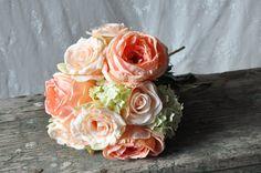 Wedding Bouquet, Wedding Bouquet, Keepsake Bouquet, Bridal Bouquet Coral rose and green hydrangea wedding bouquet by Holly's Flower Shoppe.
