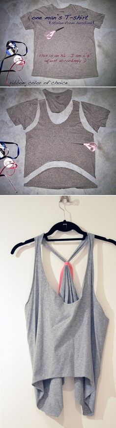 DIY Oversized Cropped Tank or Vest from a Tshirt