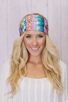 Aztec Headband Lavender Cotton Wide Head Wrap by ThreeBirdNest, $18.00