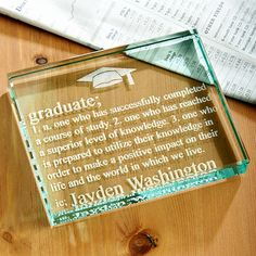 Graduate Definition Glass Paperweight