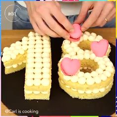 Make any anniversary, birthday, or graduation special with a few simple cake cuts. Credit: Carl Is Cooking Make any anniversary, birthday, or graduation special with a few simple cake cuts. Credit: Carl Is Cooking Number Birthday Cakes, Number Cakes, Number Number, Cake Decorating Techniques, Cake Decorating Tutorials, Graduation Desserts, Cake Recipes, Dessert Recipes, Easter Cupcakes