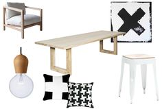 1. Global Rectangular Reclaimed Elm Dining Table 2. Holt Armchair 3. My Letter Canvas Artwork- Penny Farthing Design House 4. Wooden Pendant Light- By Nordic Tales 5. White Painter Bar Stool 6. Black and White Cross Cushion 7. Houndstooth Black + White Cushion
