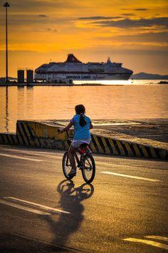 Sunset Girl in Patra, Greece