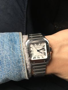[Cartier] Santos keeping me company on the flight back to NYC Cartier Santos Watch, Cartier Watches, Cool Watches, Watches For Men, Nike Wallpaper, Classy Men, Men's Apparel, Square Watch, Men's Fashion