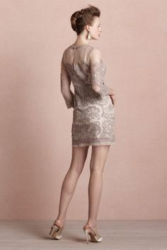 Arabesque Sheath (back) via BHLDN, $300. Yoana Baraschi creates a mesmerizing trompe l'oeil effect by embroidering elaborate patterns over an impossibly delicate sheer silk shift. Trimmed in raw-edged chiffon with three-quarter sleeves. Back zip. Silk organza shell with cotton embroidery; viscose lining. Dry clean. Imported.