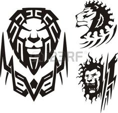 tattoo designs: Three drawings of a lion. Vector illustration ready for vinyl cutting. Tribal Lion Tattoo, African Tribal Tattoos, Lion Shoulder Tattoo, Tribal Shoulder Tattoos, Free Tattoo Designs, Maori Tattoo Designs, Cover Up Tattoos, Body Art Tattoos, Tatoos