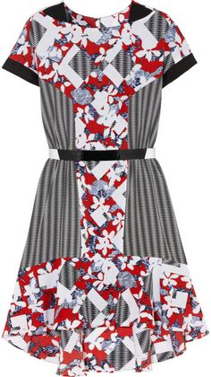 c1ffe9a24ae New Peter Pilotto Belted Crepe Dress Red White Black Abstract ... Belted  Shirt Dress