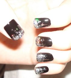 OPI Black Onyx China Glaze Nova New Years Eve Nail Art