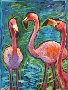 """Three Flamingoes"" - Original Fine Art for Sale - © Ande Hall"