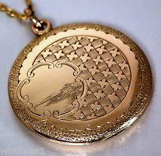 ANTIQUE VICTORIAN / EDWARDIAN 14k GOLD F.Hand Chased LOCKET PENDANT necklace