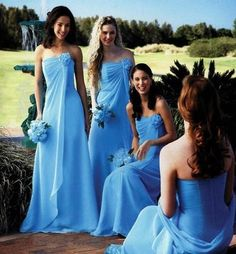 Strapless Long Chiffon Bridesmaid Dress