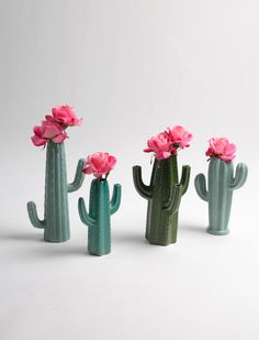 Cactus Vase - Small Seafoam Green Cactus Bud Vase - White Faux Taxidermy - Table Top Decor - Cactus Decor - Cactus Gift - Cactus Planter