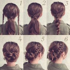 Braided updo for hair - hair styles - Geflochtene Hochsteckfrisur für Haare – Hair Styles Braided updo for hair Braided Hairstyles Updo, Trendy Hairstyles, Easy Braided Updo, Easy Messy Bun, Beautiful Hairstyles, Nurse Hairstyles, Braids Easy, Messy Braids, Medium Hair Updo Easy