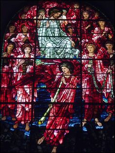 Sir Edward Burne-Jones, detail of Last Judgment stained glass (1891), west window, St. Philip's Cathedral, Birmingham, UK. #vitraux