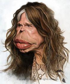 Steven Tyler by Jeong Jin Min Funny Caricatures, Celebrity Caricatures, Celebrity Drawings, Cartoon Faces, Funny Faces, Cartoon Art, Caricature Artist, Caricature Drawing, Steven Tyler