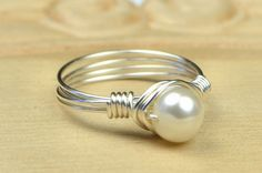 Freshwater Pearl Ring - Sterling Silver Filled Wire Wrap Ring with White Pearl- Any Size- Size 4, 5, 6, 7, 8, 9, 10, 11, 12, 13, 14 on Etsy, $15.00