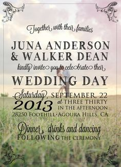Ashton i kinda like this!!! Custom Photo Wedding Invitation by JulsNewbrough on Etsy, $35.00