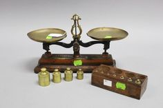 Small set of antique French scales and weights