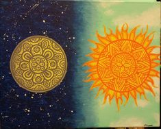 ON SALE Abstract Sun and Moon Acrylic Painting on Canvas