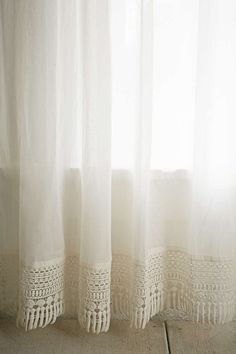 Plum & Bow Crochet Trim Curtain - Urban Outfitters