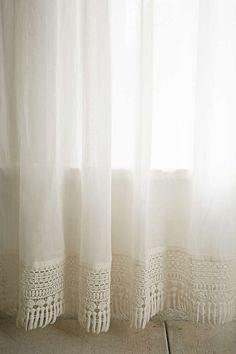 Plum & Bow Crochet Trim Curtain - Urban Outfitters